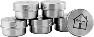 Small Stainless Steel Condiment Containers (6-Pack); 1.5oz+ Metal Pots with Lids for Bento Boxes & Lunch Boxes