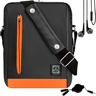 Vangoddy Orange Trim Anti-Robo Vertical Crossbody Bolsa de Hombro Mensajero para Microsoft Surface Go 2-in-1 Windows Tablet + In-Ear Buds and Splitter