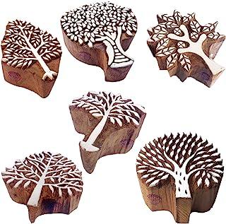 Pottery Printing Blocks Stylish Tree Pattern Wooden Stamps (Set of 6)