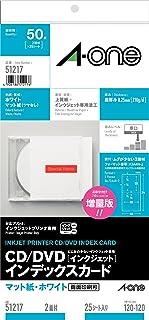 エーワン CD/DVDインデックスカード 2面 25枚 51217