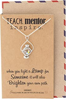 Quan Jewelry Mentor and Teacher Gifts Lamp Pendant Necklace with Greeting Card, Teacher Gifts Jewelry, Gift for Mentor, Handmade Jewelry for Women