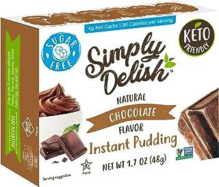 Simply Delish Natural Instant Chocolate Pudding - Sugar Free, Non GMO, Gluten Free, Fat Free, Vegan, Keto Friendly - 1.7 O...