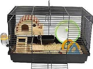 Aeon hum ハムスターケージ ハムスターハウス 天然木材 通気 組立式 小動物ケージ 飼育ケージ 内装 幅広い セット付き 持ち手付き サイズ:47*30*30cm(セット)