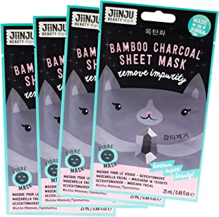 Jiinju Beauty Korean Remove Impurity Bamboo Charcoal Sheet Mask, Pack of 4
