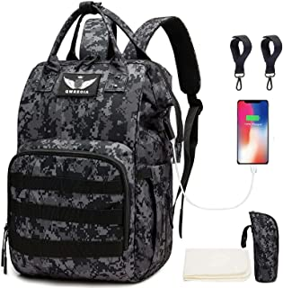 Diaper Bag Backpack with USB Charging Port Stroller Straps and Insulated Pocket , Tactical Advantage Travel Baby Bag Nappy...