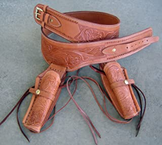 New! Tan Genuine Leather Double Western Single Action Gun Tooled Holster Cowboy SASS Rig. in 44/45 Cal Ammo Loops by GUNS4US