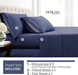 Morgan Home Cotton Rich T-Shirt Soft Heather Jersey Knit Sheet Set - All Season Bed Sheets, Warm and Cozy (Queen, Heather Indigo)