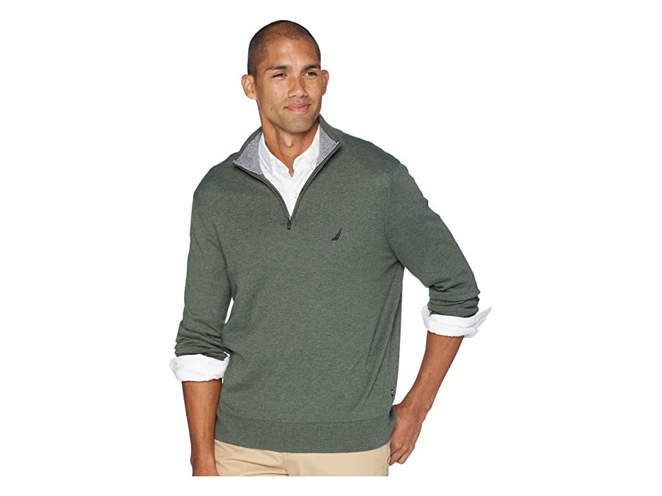 Nautica 12 Gauge 1/4 Zip Sweater (Pine Forest Heather) Men