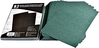 BNC Leather Texture Paper Binding Presentation Covers Pack of 100 Letter Size Dark Green