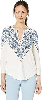 Women's Bandana Print Henley Shirt