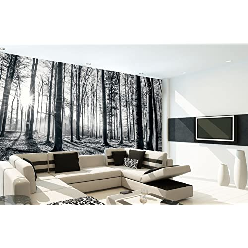Superb 1Wall Black And White Nature Forest Wall Mural 3.15 X 2.32m, Wood 1 X