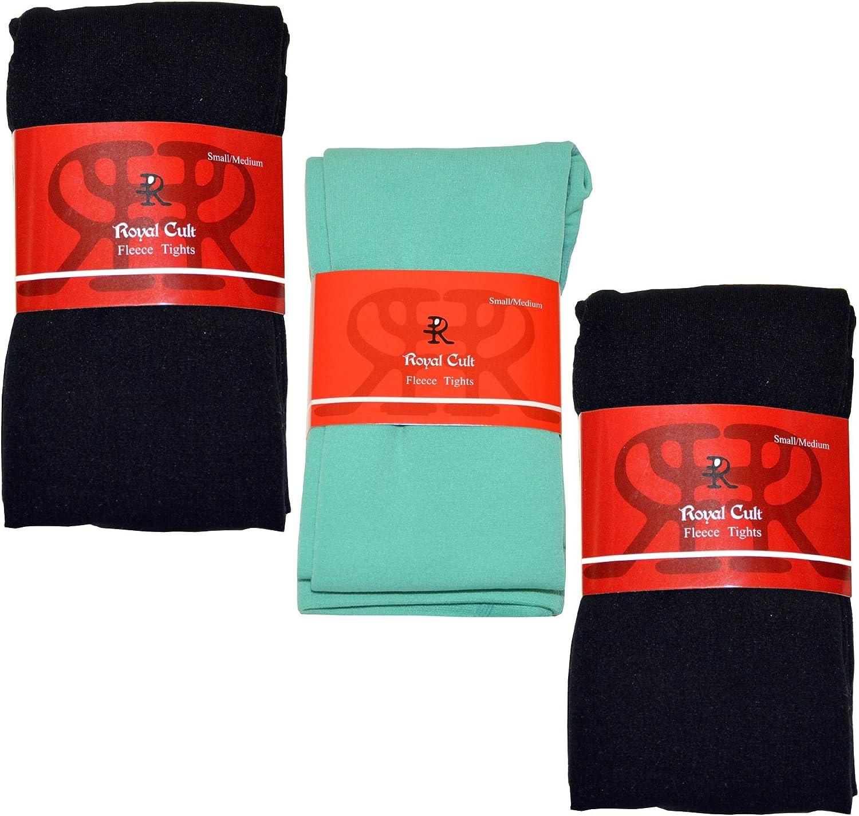 Royal Cult Women's Skinny Fit Fleece Tights (Small/Medium, 3-Pack/Black/Emerald/Black)