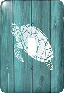 """3dRose Lsp_220428_1\""""Turtle Stencil In White Over Teal Weatherboard Not Real Wood Single Toggle Switch, Multicolor"""