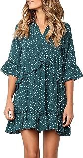 MITILLY Women's V Neck Ruffle Polka Dot Pocket Loose...