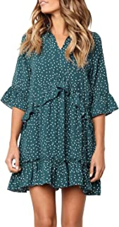 Women's V Neck Ruffle Polka Dot Pocket Loose Swing Casual...