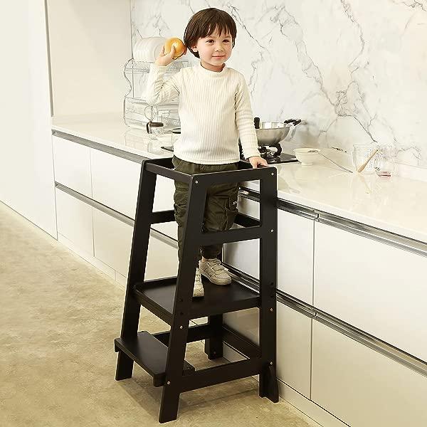 SDADI Kids Step Stools Kitchen Standing Tower Mothers Helper Black LT06B