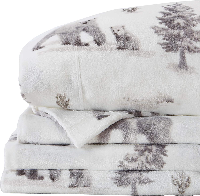 Micro Fleece Extra Soft Cozy Velvet Plush Printed Sheet Set. Deluxe Bed Sheets with Deep Pockets. Velvet Luxe Collection (Full, Polar Bears)