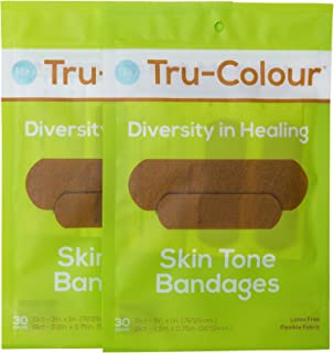 Tru-Colour Skin Tone Bandages: Olive-Moderate Brown 2-Pack (60-Count; Green Bag)
