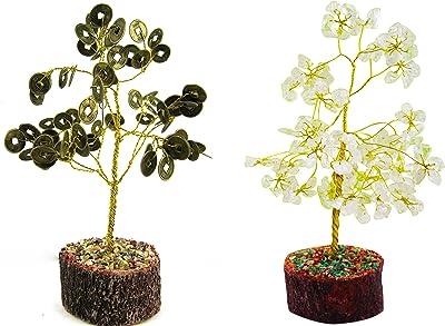 eshoppee vastu feng Shui Money Coin Wealth Tree with White Crystal Stone Gemstone Tree (Coin Tree- Crystal)
