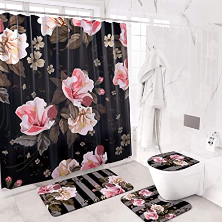Coopers Store 4 Piece Complete Floral Shower Curtain Set 12 Hooks U-Shape Mat Modern Black and Pink Flowers Bathroom Decor Toilet Lid Cover Elegant Accessories Sets with Bath Mats Medium