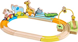 Fun Safari Wooden Train Set with Brightly Painted Circus Animals. Zebra, Giraffe, Elephant are Removable. Alligator, Hippo, Monkey, 3 Cars, 8 Curved Tracks. 18 Month Plus Educational Toy