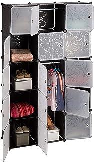Relaxdays Étagère cubes rangement penderie armoire 11 casiers 2 tringles plastique modulable DIY, Plastique, Noir, 37 x 11...
