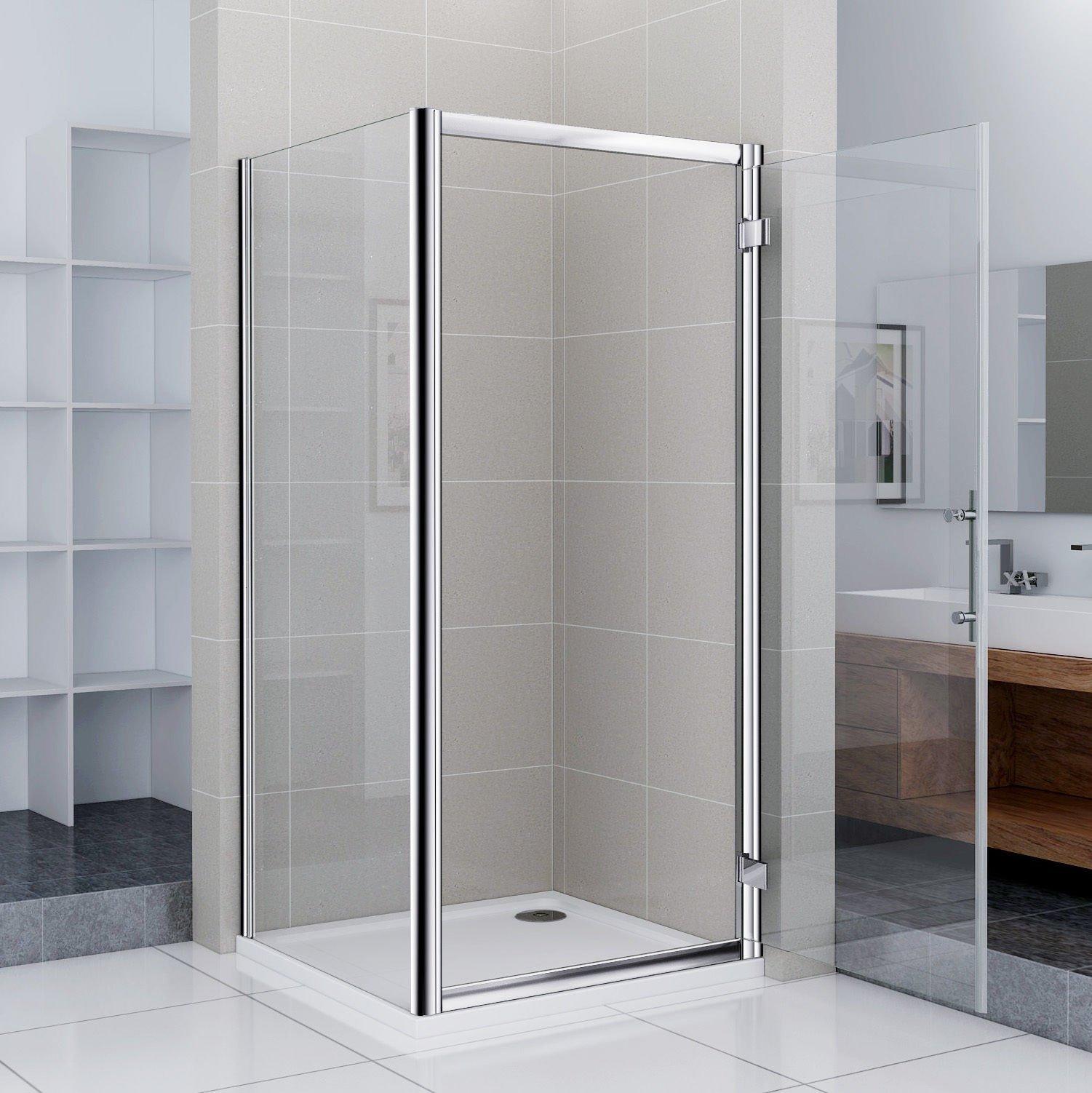 Mampara de ducha Ducha Puerta drehtür Puerta oscilante para ducha pared 90 x 90 x 185 cm (NS8 – 80 + NS3 – 90): Amazon.es: Bricolaje y herramientas