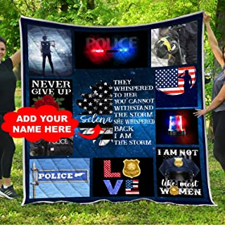 Personalized Female Police Officer Thin Blue Line American Flag Quilt Blankets King Queen Full Twin Size Customized Quilted Birthday Christmas Custom Firefighting Gifts for Women Mom Policewoman