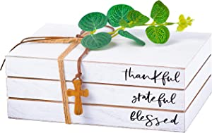 Stacked Book Decor - Decorative Wooden Book Design with Twine, Greenery and Wood Cross Pendant - White Book Stack for Farmhouse Table Decor - Rustic Accent Decor for End Table, Coffee Table or Shelves