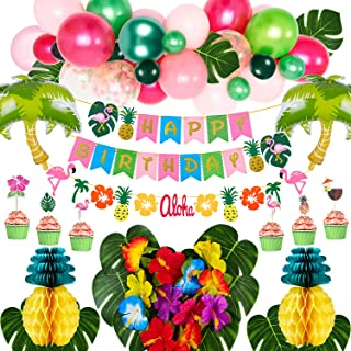 Golray Hawaiian Luau Birthday Party Decorations Supplies Tropical Moana Summer Party Decor with Balloon Arch, Palm Leaves,...