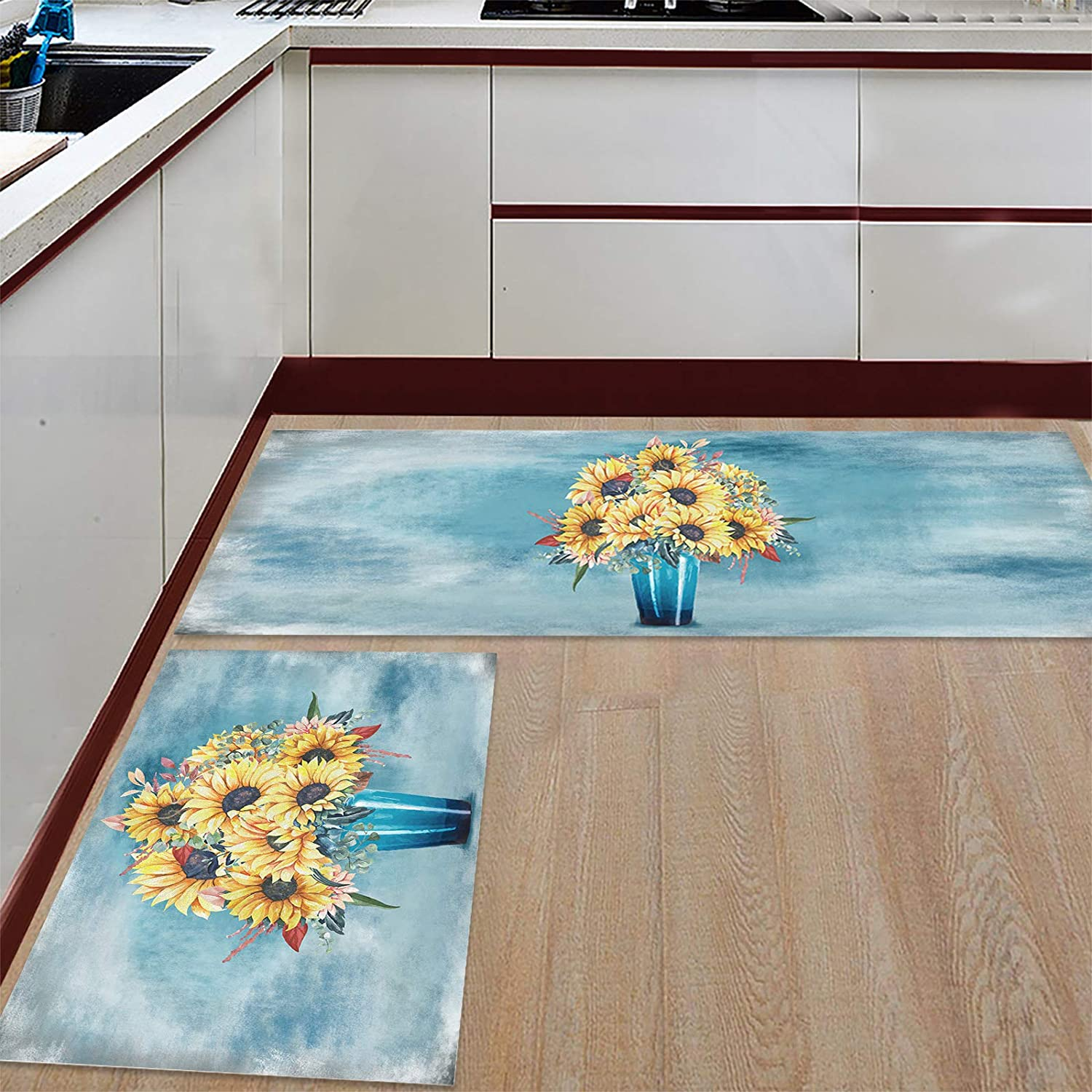 Prime Ranking TOP20 Leader Kitchen Mat and Rugs Sunflower on of 2 San Francisco Mall Vintage Set