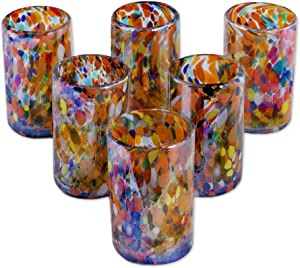 NOVICA Artisan Crafted Hand Blown Multicolor Confetti Recycled Glass Juice Glasses, 14 Oz. 'Carnival' (Set Of 6)