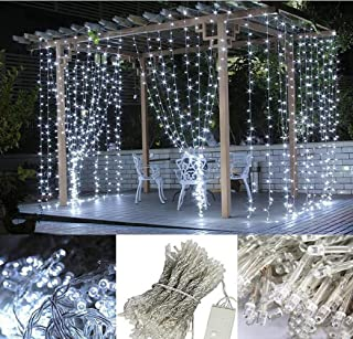 LED Curtain Lights, USB & Battery Powered LED Icicle Lights, 300 LEDs, 9.8ft x 9.8ft with 8 Modes Remote Controller for Ho...