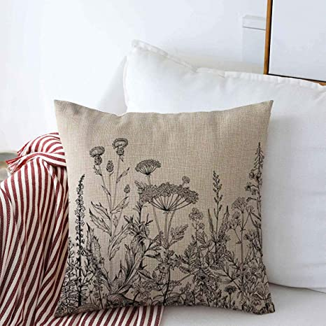Amazon Com Throw Pillow Covers 18 X 18 Floral White Border Herbs Wild Flowers Botanical Graceful Engraving Black Vintage Meadow Victorian Cushion Square Linen Case For Winter Home Decorative Home Kitchen