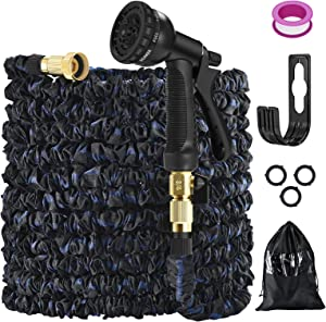 Expandable Garden Hose,Water Hose Pipe with 8 Function Hose Nozzle,Garden Hose Holder and Durable Latex Anti-Proof Magic Hose, Solid Brass Fitting, Sprinklers for Grass, Gardening (50ft-black blue)