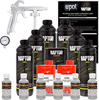 U-Pol Raptor Dove Gray Urethane Spray-On Truck Bed Liner Kit w/Free Spray Gun, 6 Liters