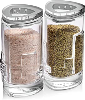 Salt Pepper Shakers by JoyJolt - 2Oz Salt and Pepper Set of 2 - Premium Quality Durable Glass - Elegant Triangle Design - Non-BPA and Dishwasher Safe - Ideal for Home Use, Restaurant, Hotel