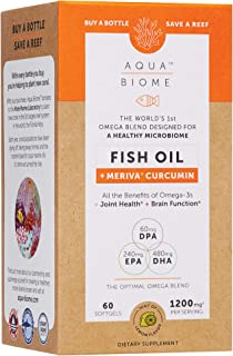 Aqua Biome by Enzymedica, Fish Oil + Meriva Curcumin, Complete Omega 3 Supplement, Non-GMO, 60 Softgels (30...