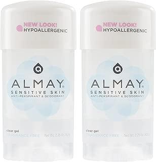 Almay Sensitive skin Clear Gel, Anti-Perspirant & Deodorant, Fragrance Free, 2.25-Ounce Stick (Pack of 2)