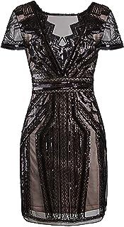 Vijiv 1920s Short Prom Dresses V Neck Inspired Sequins Cocktail Flapper Dress