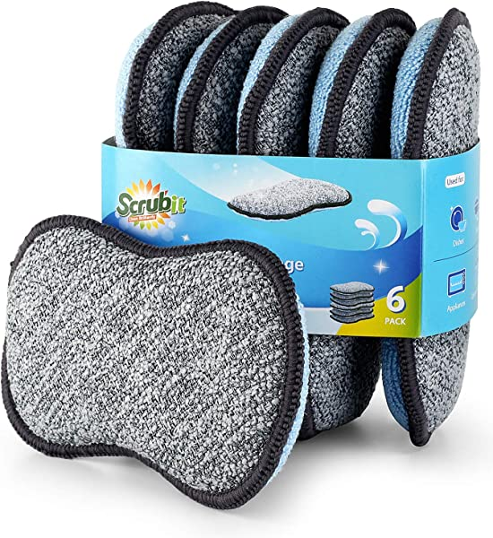 Multi Purpose Scrub Sponges For Kitchen By Scrub It Non Scratch Microfiber Sponge Along With Heavy Duty Scouring Power Effortless Cleaning Of Dishes Pots And Pans All At Once 6 Pack Small