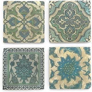 Studio Vertu Blue Moroccan Tumbled Marble Coasters, Set of 4