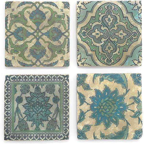 Studio Vertu Blue Moroccan Tumbled Marble Coasters Set Of 4