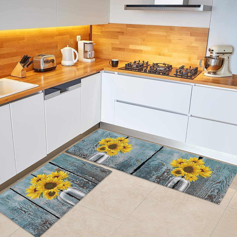 BABE MAPS Sunflower Ranking TOP9 2-Pack Kitchen Floor OFFicial store Mat Standing Non-Slip