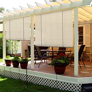 Sunshades Depot Exterior Roller Shade for Deck Porch Pergola Balcony Backyard Patio or Other Outdoor Spaces Blinds Light Filtering Block 90% UV Rays Beige Tan 6' x 6' (72'' x 72'')