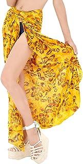 f1d2e8ae33 LA LEELA Women's Swimsuit Cover Up Sarong Bikini Swimwear Beach Cover-Ups  Wrap Skirt Large