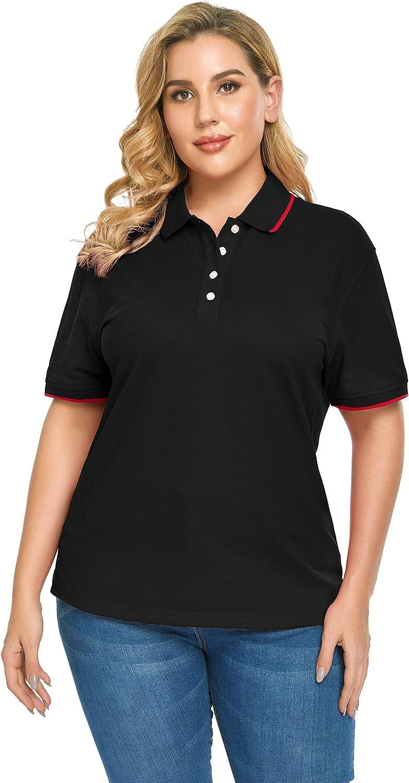ZERDOCEAN Women's Plus Size Short-Sleeve Polo Shirt Button Up T-Shirt Tops