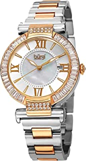 Burgi Women's Mother of Pearl Dial Stainless Steel Band Watch [BUR082TT]