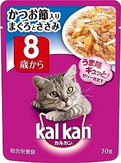 カルカン パウチ 高齢猫用 8歳から かつお節入りまぐろとささみ 70g×16袋 (まとめ買い) [キャットフード]