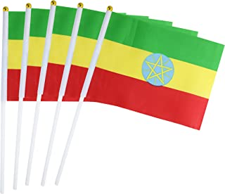 50 Pack Hand Held Small Mini Flag Ethiopia Flag Ethiopian Flag Stick Flag Round Top National Country Flags,Party Decorations Supplies For Parades,World Cup,Sports Events,International Festival
